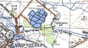 Карта село Тарасовка, Андрушевский район, Житомирская область, Украина, 1987г.