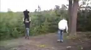 Улетел в лес с тарзанки