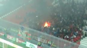 Болельщики Рубина устроили пожар на стадионе