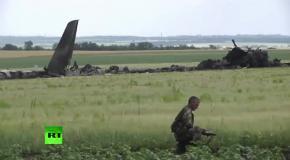 Кадры с места крушения Ил-76 украинских ВВС в Луганске
