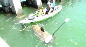 Мужчина поймал гигинтскую рыбу