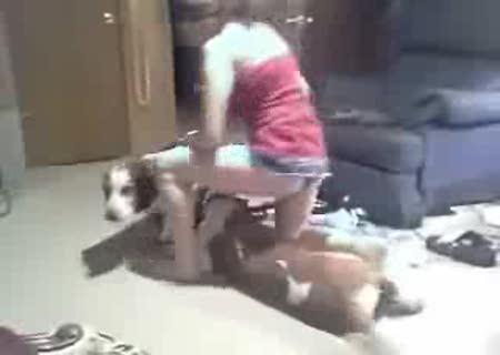 как спарить девушку и собаку жесткого секса еще