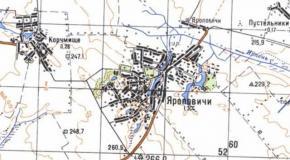 Карта село Яроповичи, Андрушевский район, Житомирская область, Украина, 1987г.