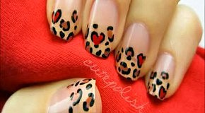 Леопардовый маникюр ко дню святого Валентина