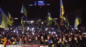 Гимн Украины в 04-00 на Евромайдане (12 декабря 2013)