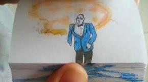 Художник создал бумажную версию Gangnam Style