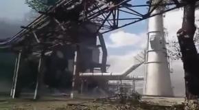 В сеть попало видео обстрела Луганской ТЭС