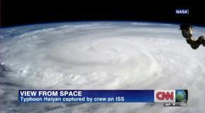 Мощнейший тропический тайфун Хайян - вид из скосмоса