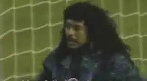 Goalkeeper Higuita does an amazing SAVE