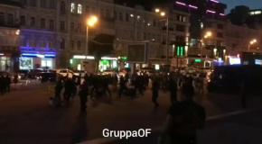 Киевские и одесские ультрас устроили массовую драку в центре столицы