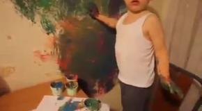 Реакция мамы на обрисованную маленьким сыном кухню