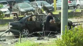 Место взрыва автомобиля в Соломенском районе