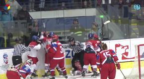 Драка российских и чешских хоккеисток