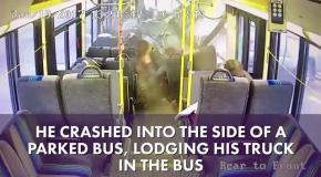 Джип въехал в салон автобуса