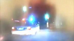 В машину полицейских врезались на полном ходу