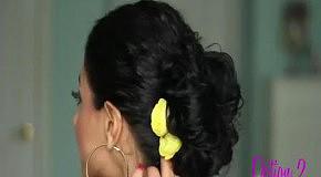 Собираем вьющиеся волосы в гламурный пучок