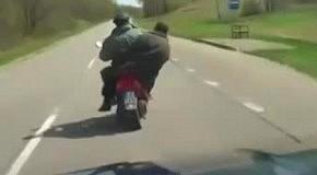 Водитель напугал пьяных байкеров