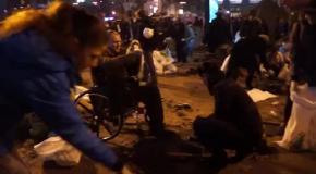 Инвалид участвует в сопротивлении силовикам на Евромайдане