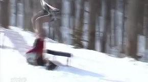 Неожиданный трюк сноубордиста