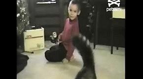 Кошка борется с мальчиком