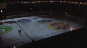 Крутые спецэффекты во время  хоккейного матча
