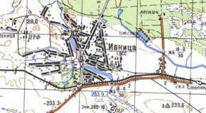 Карта село Ивница, Андрушевский район, Житомирская область, Украина, 1987г.