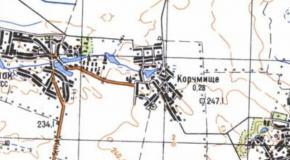 Карта село Корчмище, Андрушевский район, Житомирская область, Украина, 1987г.