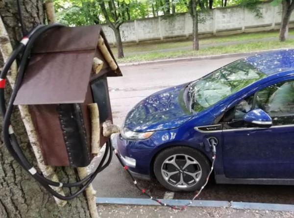 Находчивый владелец электрокара в Украине замаскировал зарядку под скворешник
