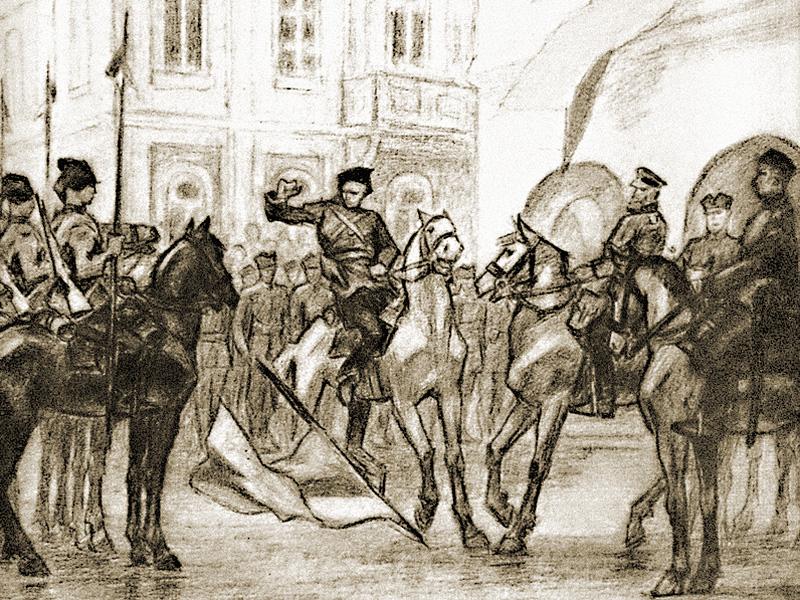 """Pintura de Leonid Perfetskiy. """"Kiev, 31 de agosto de 1919"""""""