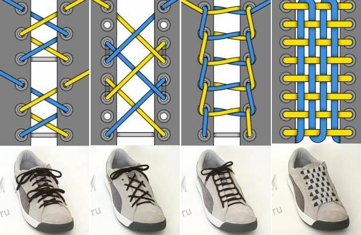 12093ad1 Варианты шнуровки для обуви. - Мир рукоделия