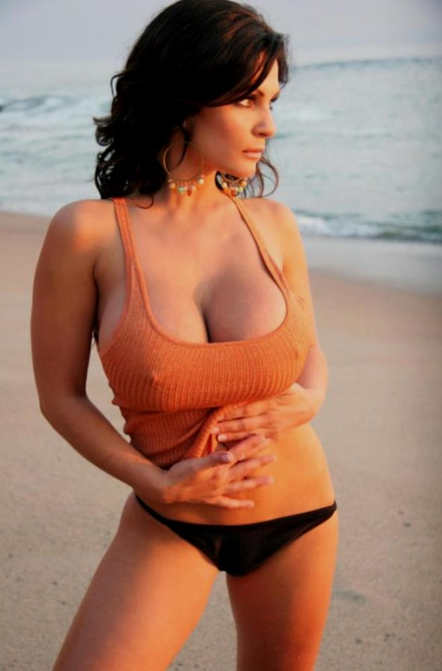 Curly hair brunette small breast